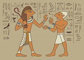 stock photo of hieroglyph  - Typical designs and Egyptian hieroglyphics made in walls - JPG