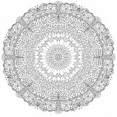 picture of dragonflies  - A black and white mandala illustration with a garden theme - JPG