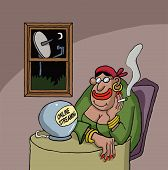 pic of fortune-teller  - Cartoon about a fortune teller watching something online on her ball - JPG