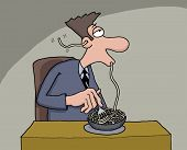 image of starving  - Funny cartoon of a man eating spaghetti which comes out from his ear - JPG
