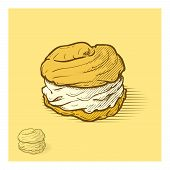 image of whip-hand  - Cream puffs hand drawn illustration - JPG