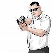 foto of gunshot  - Man shooting a gun on white background - JPG