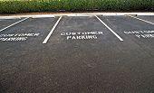 image of parking lot  - Horizontal shot of an empty customer parking lot - JPG