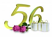 pic of fifties  - birthday concept with pink roses and gifts  - JPG