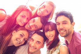 stock photo of selfie  - Best friends taking selfie outdoors with backlight contrast  - JPG