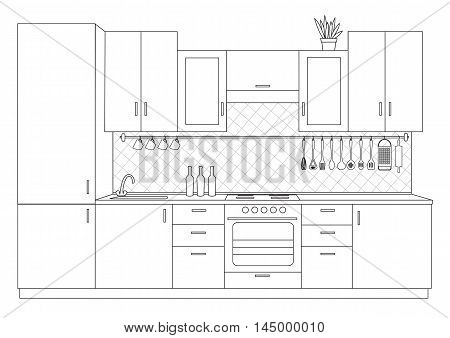 Vector illustration od architectural sketch interior small kitchen front view