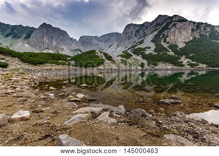 Reflection of Sinanitsa Peak in the lake, Pirin Mountain, Bulgaria