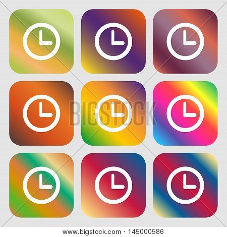 Clock Sign Icon. Mechanical Clock Symbol . Nine Buttons With Bright Gradients For Beautiful Design.
