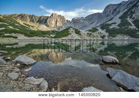 Amazing panorama around Sinanitsa peak and  reflectionin the lake, Pirin Mountain, Bulgaria
