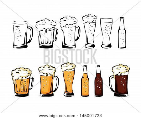 Set of beer glassware. Beer mug cup glass bottle collection. Isolated vector illustration