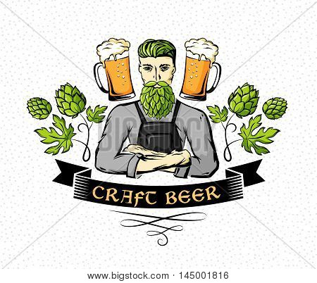 Craft beer emblem. Hipster brewer with hop beard ornament decorations and beer mugs. Color vector illustration