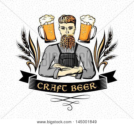 Craft beer emblem. Hipster brewer with wheat beard ornament decorations and beer mugs. Color vector illustration