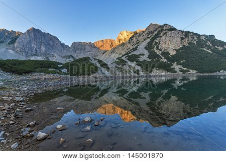 Sunrise view of Sinanitsa peak and  the lake, Pirin Mountain, Bulgaria