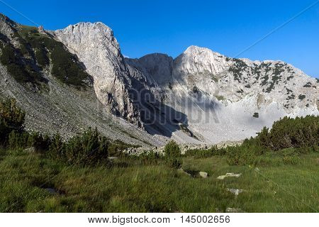 Amazing view of rocks of Sinanitsa peak covered with shadow, Pirin Mountain, Bulgaria