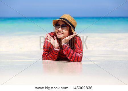 Asia woman in Tropical beach Similan Island Koh Ta Chai Andaman Sea Thailand