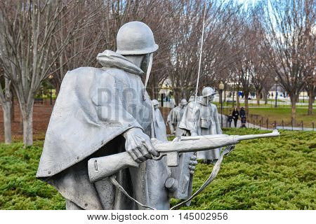WASHINGTON, DC - DEC 19: Korean War Veterans Memorial in Washington, DC, as seen on December 19, 2015. The memorial consists of 19 stainless steel statues.
