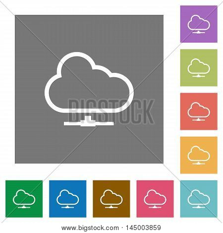 Cloud network flat icon set on color square background.