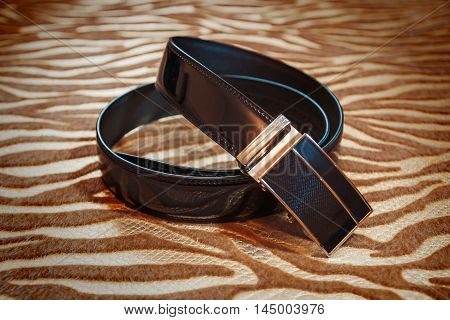 Wedding Men's Belt Lying On The Floor