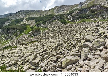 Rocky hills on the path to Banderitsa pass,  Pirin Mountain, Bulgaria