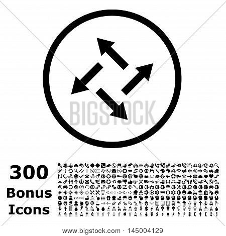 Centrifugal Arrows rounded icon with 300 bonus icons. Vector illustration style is flat iconic symbols, black color, white background.