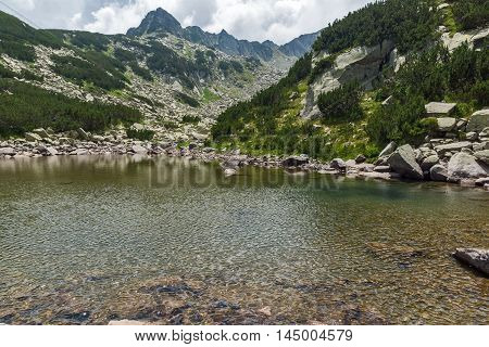 Rocky peaks and Upper Muratovo lake, Pirin Mountain, Bulgaria