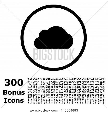 Cloud rounded icon with 300 bonus icons. Vector illustration style is flat iconic symbols, black color, white background.