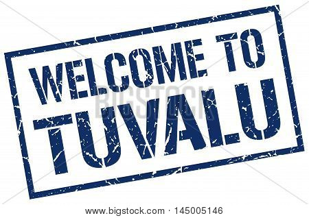 welcome to Tuvalu. stamp. grunge square sign