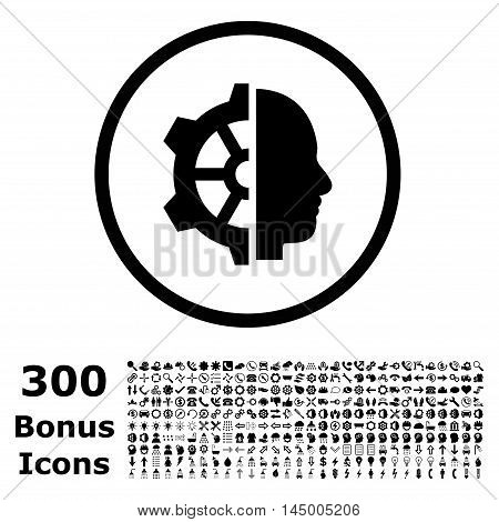 Cyborg Gear rounded icon with 300 bonus icons. Vector illustration style is flat iconic symbols, black color, white background.