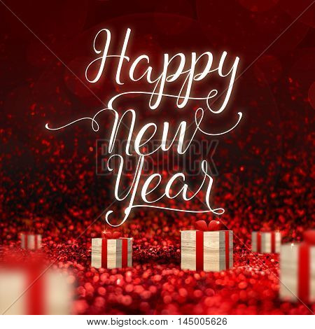 Happy New Year Word And Wood Present Box At Red Sparkling Glitter Perspective Background,holiday Con