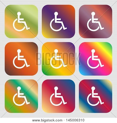 Disabled Sign Icon. Human On Wheelchair Symbol. Handicapped Invalid Sign . Nine Buttons With Bright