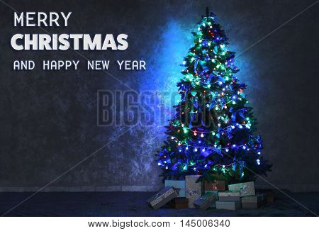 Christmas card. Christmas tree in a room on wall background