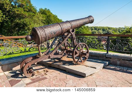 Old artillery cast-iron cannon in Chernihiv Ukraine