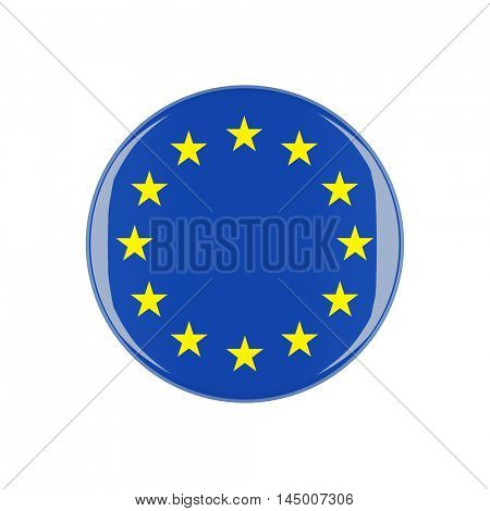 europe 3d button isolated on white background