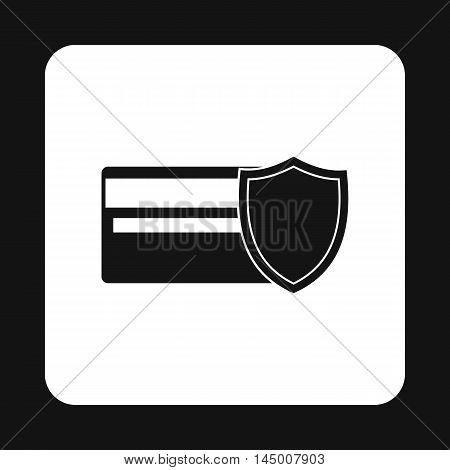 Protection of a plastic card icon in simple style isolated on white background. Security symbol