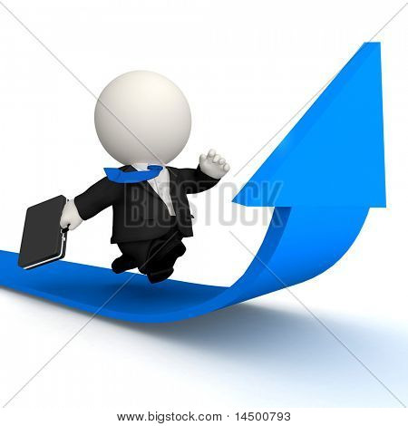 3D Business man racing to achieve growth - isolated over white