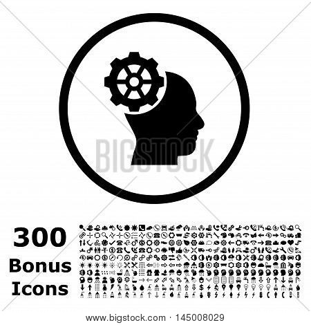 Head Gear rounded icon with 300 bonus icons. Vector illustration style is flat iconic symbols, black color, white background.