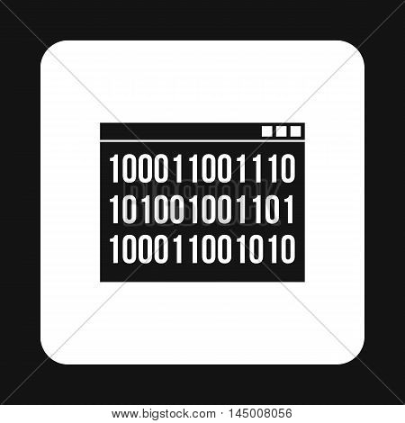 Binary code on screen icon in simple style isolated on white background. Programming symbol