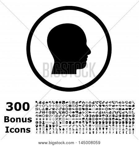Head Profile rounded icon with 300 bonus icons. Vector illustration style is flat iconic symbols, black color, white background.