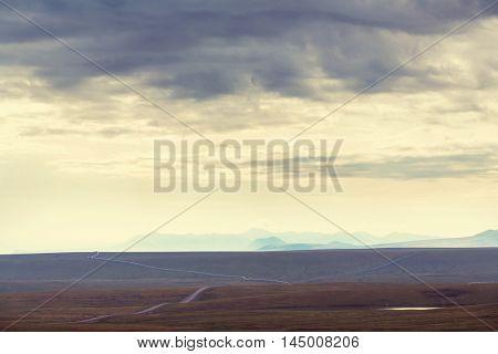 Tundra landscapes above Arctic circle