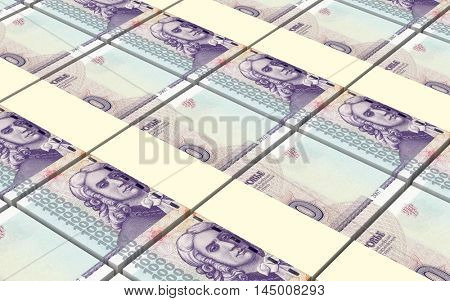 Transnistrian ruble bills stacks background. 3D illustration.