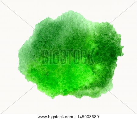 Green watercolor hand drawn stain isolated on white background for you eco design. Vector abstract watercolour paper grain textured stain
