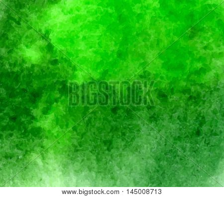Green watercolor hand drawn stain background for you eco design. Vector abstract watercolour paper grain textured stain