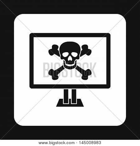 Virus on computer icon in simple style isolated on white background. Infection symbol