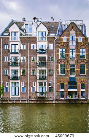 Residential Buildings in Amsterdam near the City Channel
