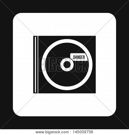 Disk with virus icon in simple style isolated on white background. Hacking symbol