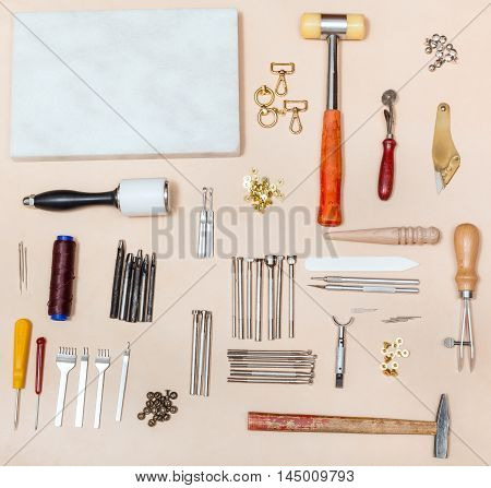 Various Leather Craft Instruments And Marble Board