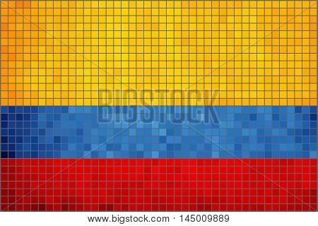 Flag of Colombia with effect,  Abstract Mosaic Flag of Colombia