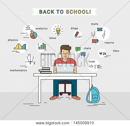 E-learning and back to school illustration of young guy using laptop for distance studying and education. Flat man sitting at home and learning new technology with educational symbols around him.