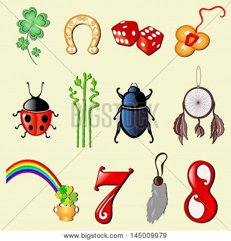 Set Of 12 Symbols Of Luck