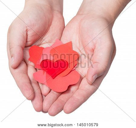 Red Heart Above Pile Of Paper Hearts On Male Palms